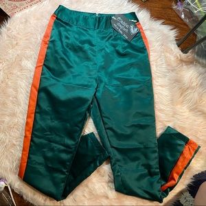 Nasty Gal Small Green Orange Satin Pants